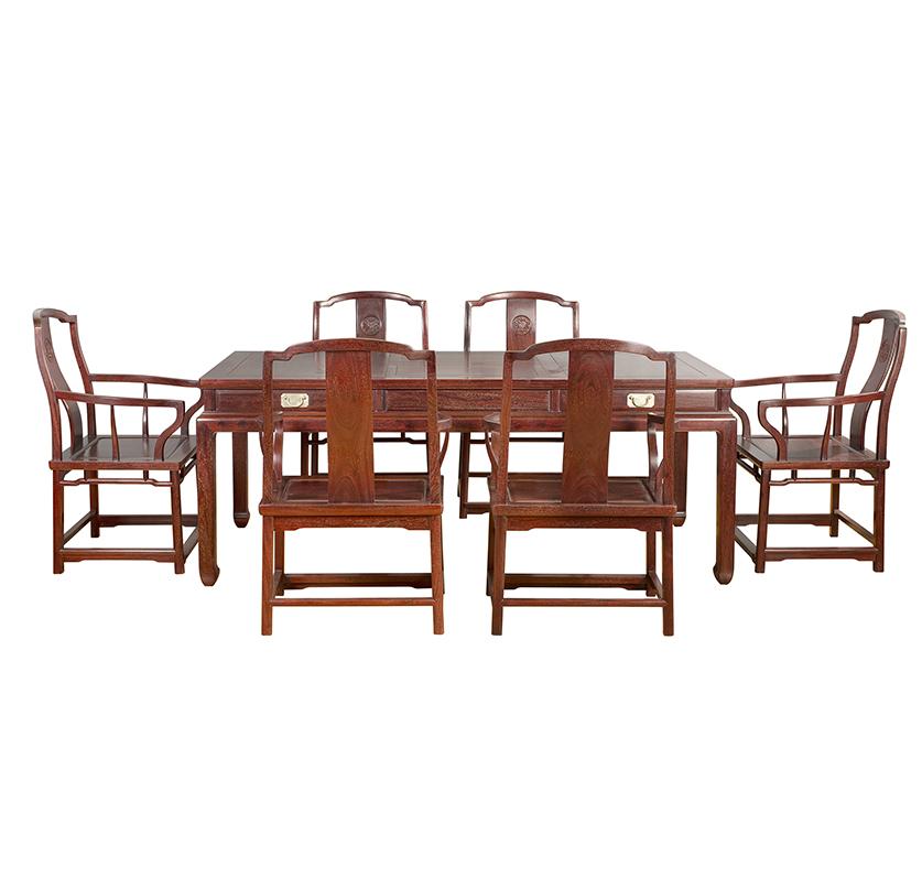 赞比亚血檀茶桌七件套
