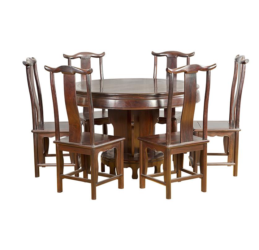 汕尾大红酸枝靠背椅圆餐桌七件套