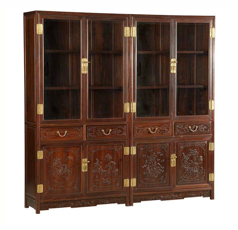 老挝大红酸枝雕琴棋书画书柜