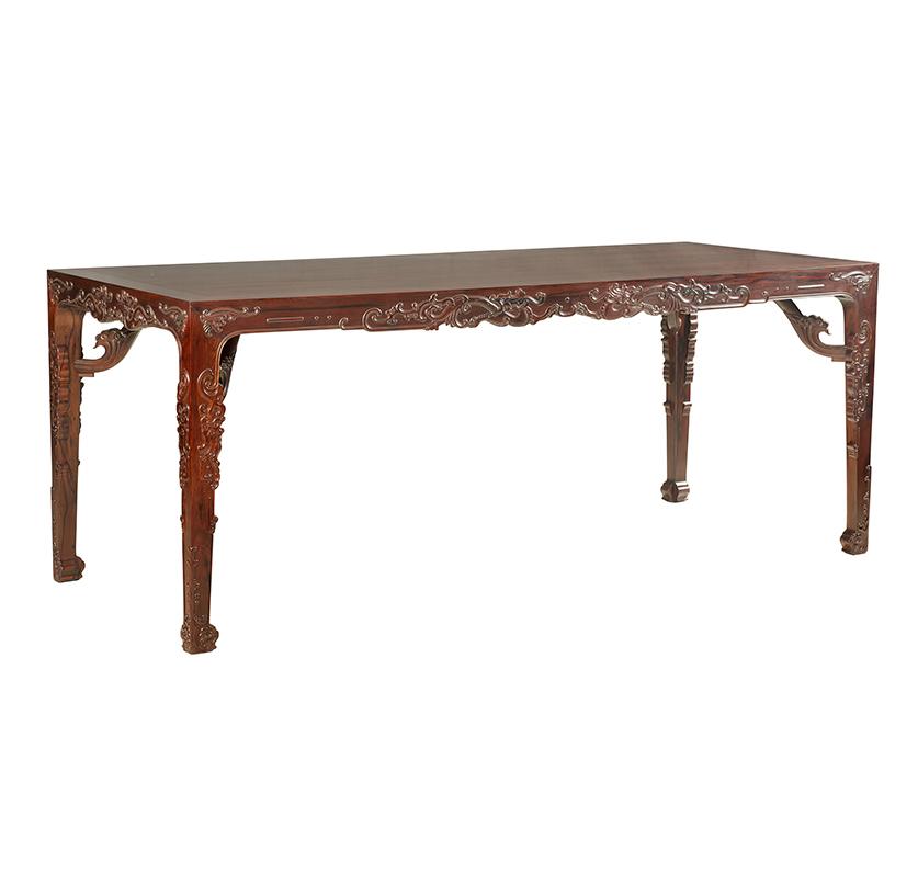 田燕波设计红酸枝雕螭龙纹画桌