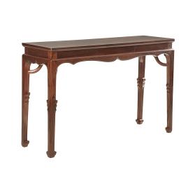 红酸枝暗屉霸王枨长桌